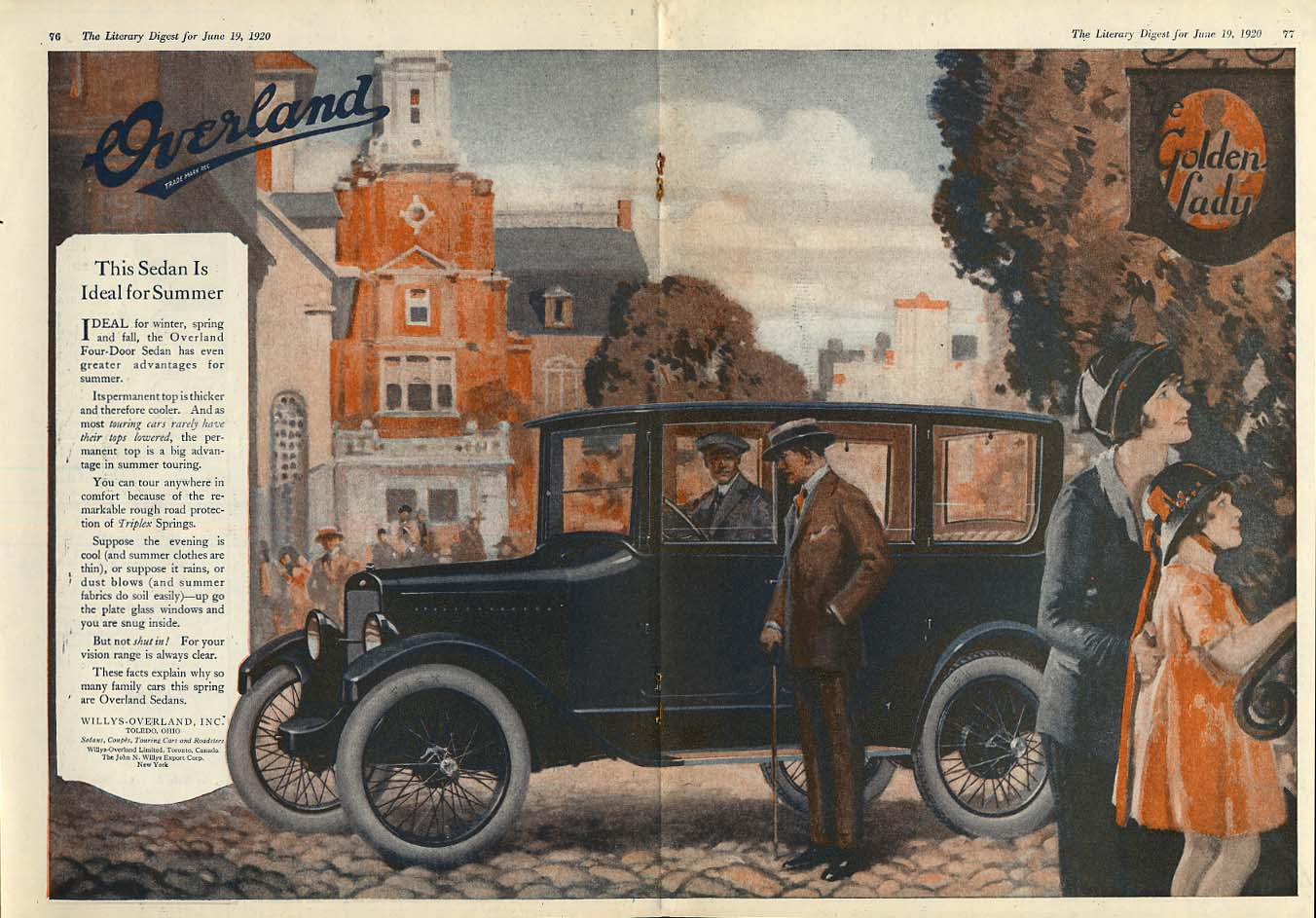 Image for This sedan is ideal for Summer - Willys Overland ad 1920 LD