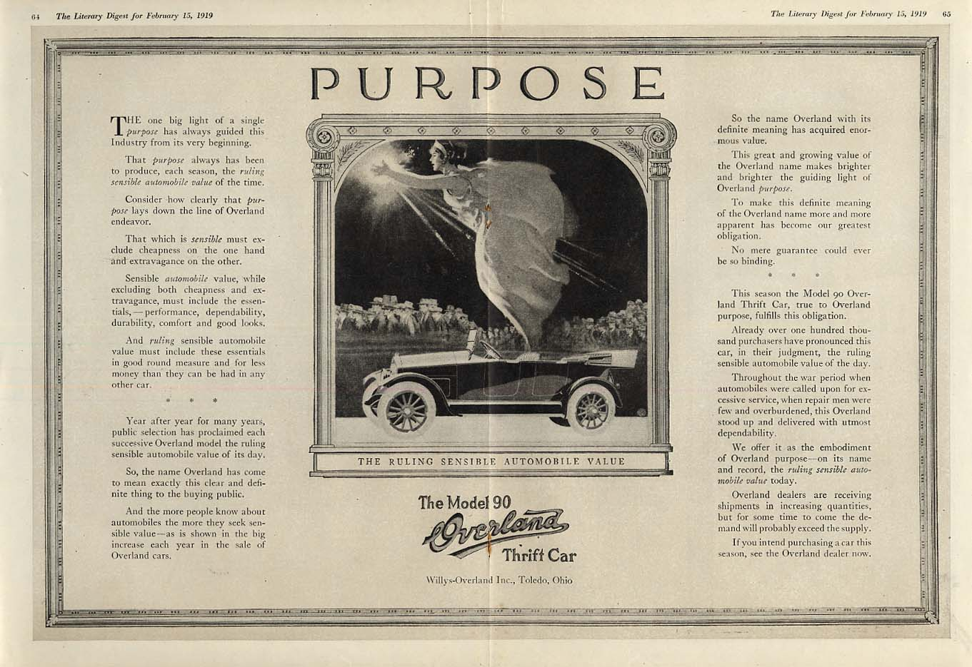 Image for The one big light of a single purpose Overland Model 90 Touring Car ad 1919 LD