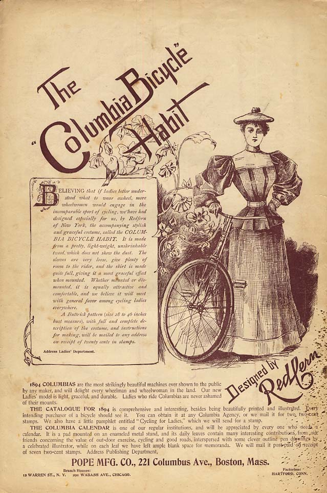 Image for The Columbia Bicycle Habit designed by Redfern: Pope Mfg ad 1894