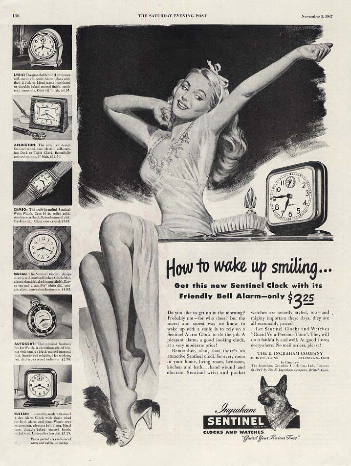 Image for How to wake up smiling Ingraham Sentinel Alarm Clock ad 1947 Schmidt pin-up art