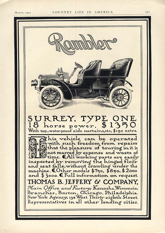 Image for Rambler Surrey Type One 18 Horse Power $1350 with top ad 1905 CL