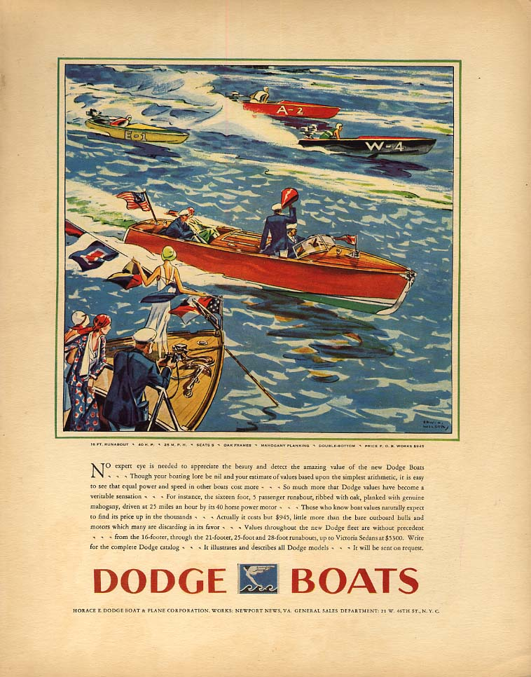 Image for No expert eye needed to appreciate Dodge 16-foot Runabout speedboat ad 1930 F