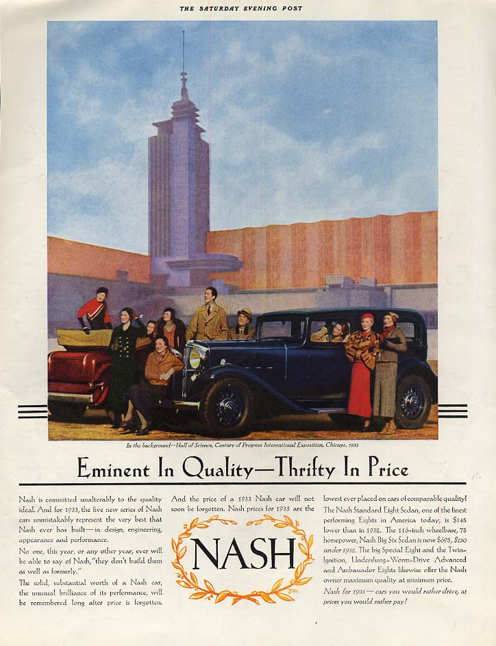 Image for Eminent in Quality Thrifty in Price: Nash at Century of Progress ad 1933 SEP