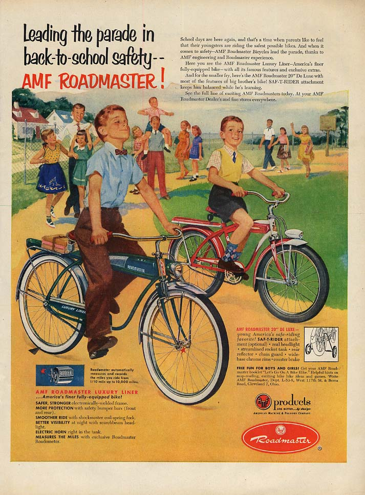 Image for Leading the parade in back-to-school safety AMF Roadmaster Bicycle ad 1953 L