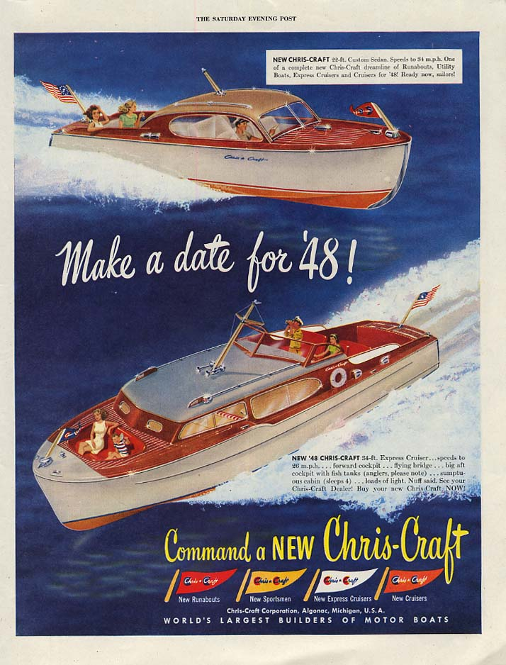 Image for Make a date for '48! Chris-Craft Custom & Express Cruiser speedboat ad 1948
