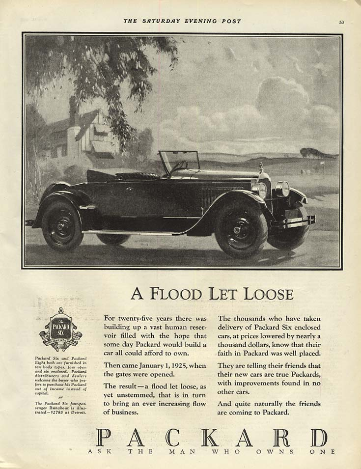 Image for A Flood Let Loose - Packard Roadster Runabout ad 1925 SEP