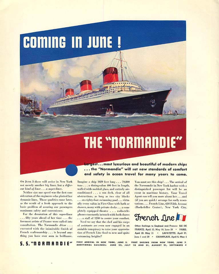 Image for Coming in June! French Line S S Normandie / Lincoln Le Baron Roadster ad 1935 F
