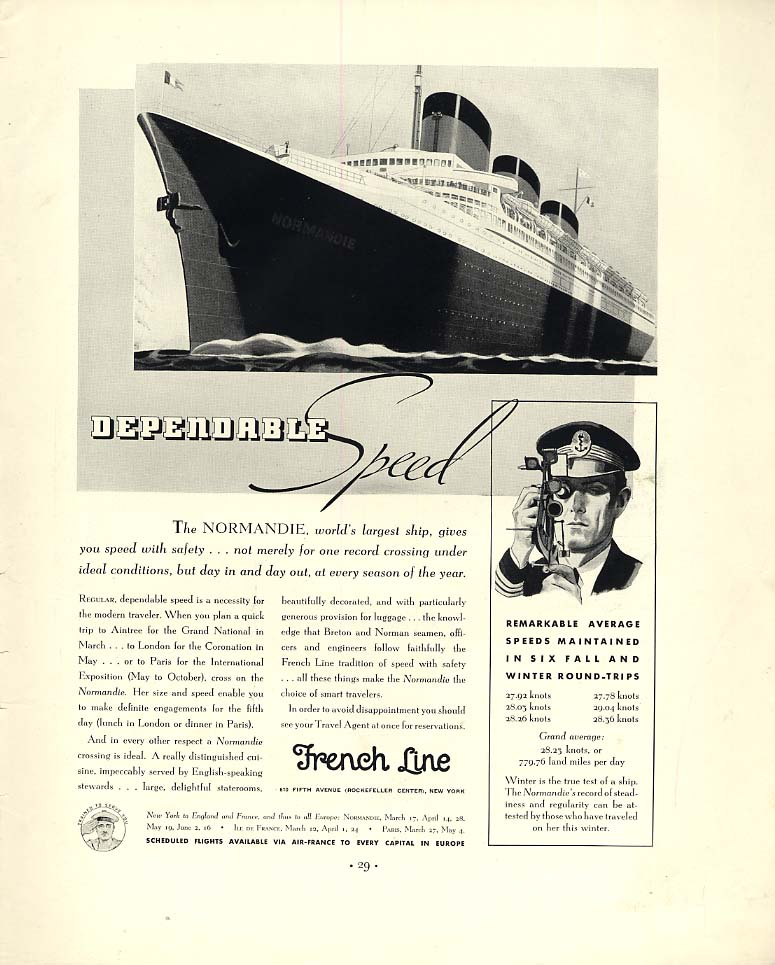 Image for Dependable Speed - French Line S S Normandie ad 1937 F