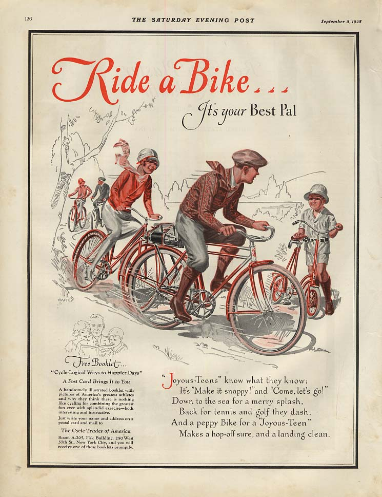 Image for Ride a Bike - it's your Best Pal! Ad 1928 SEP art by Hare