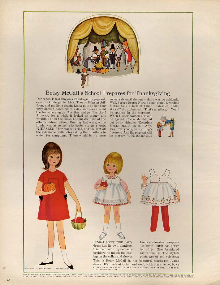 Image for Betsy McCall's School Prepares for Thanksgiving paper doll page 11 1964