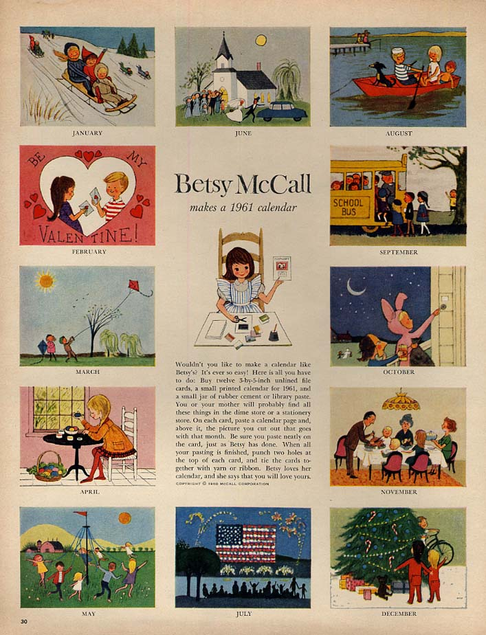 Image for Betsy McCall makes a 1961 calendar paper doll page 1 1961