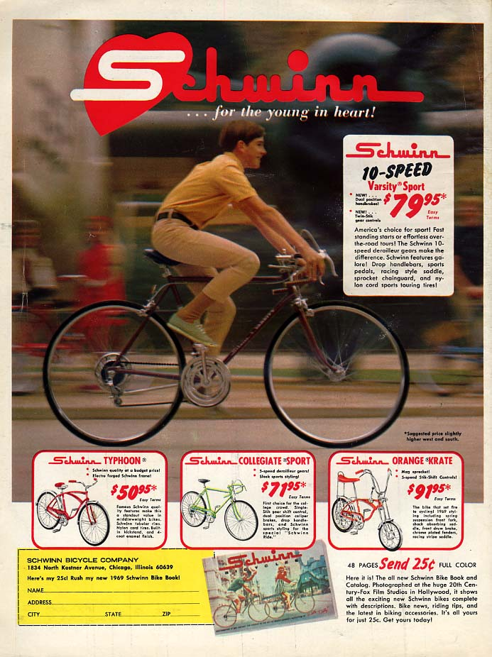 Image for For the young at heart Schwinn Varsity Sport & Orange Krate bicycle ad 1969 BL