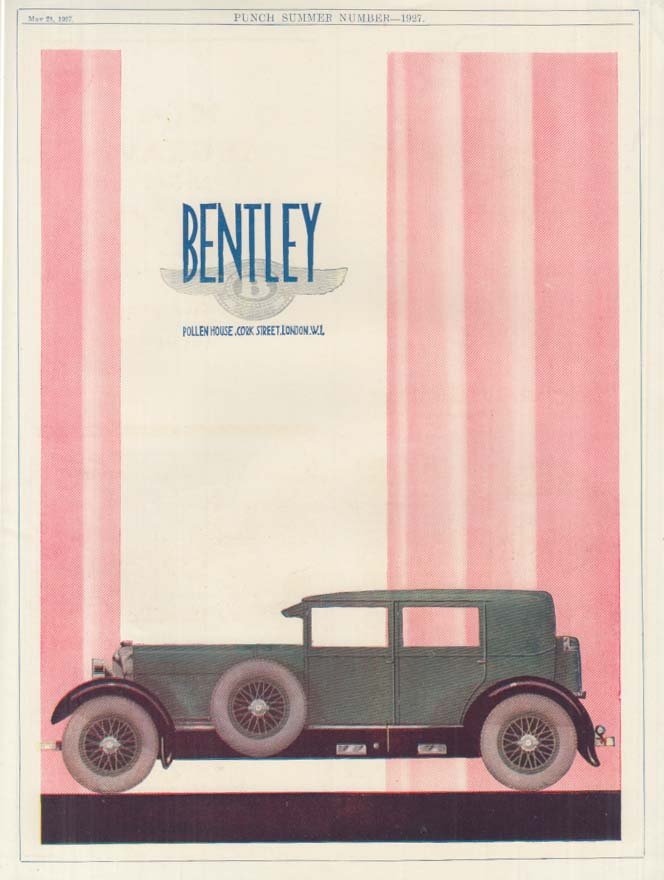 Image for Bentley Sedan with sidemounts ad Punch UK 1927