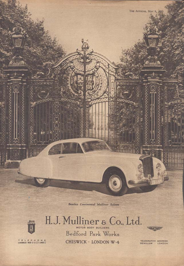 Image for Bentley Continental Mulliner Saloon ad H J Mulliner ad 1953