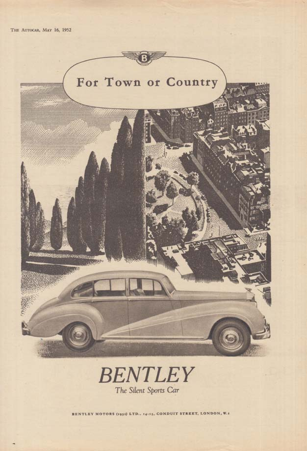 Image for For Town or Country - Bentley The Silent Sports Car ad 1952