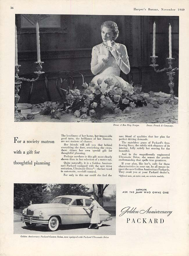 Image for For a society matron with a gift for thoughtful planning Packard ad 1950 HBZ