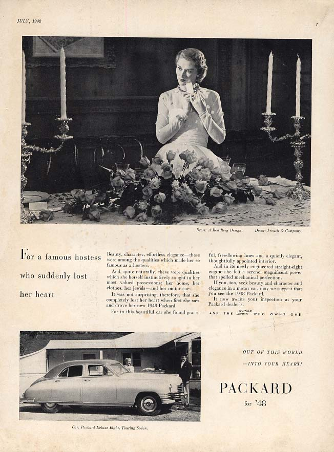 Image for For a famous hostess who suddenly lost her heart Packard Deluxe 8 ad 1948 Vog