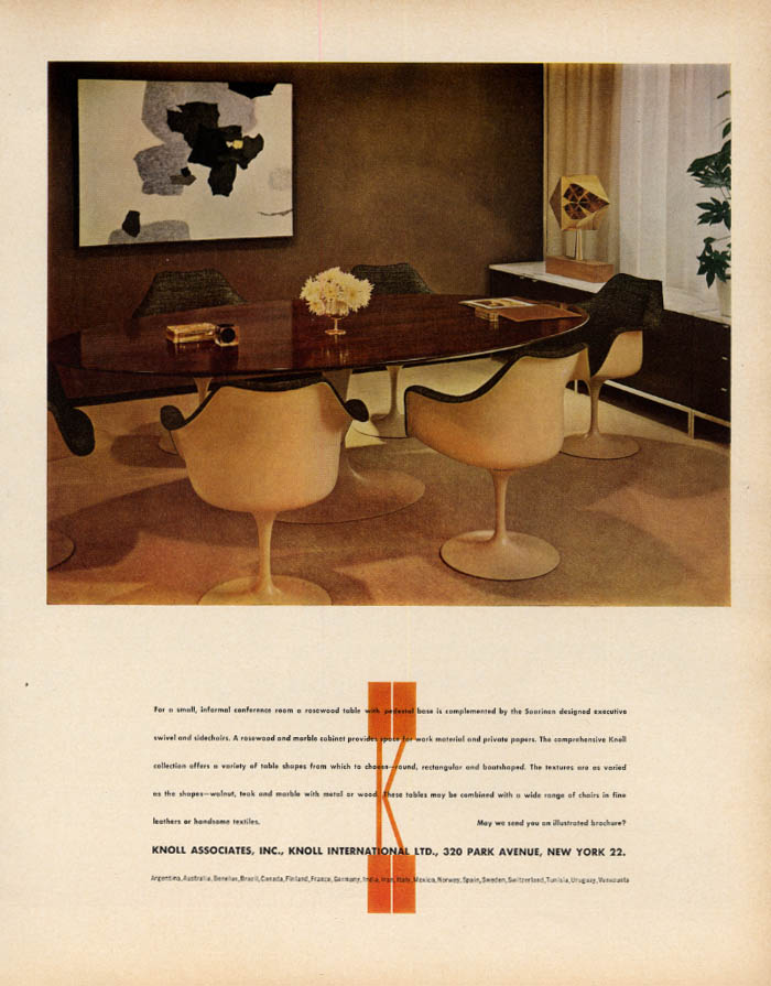 Image for Saarinen Executive Swivel & Side Chairs: Knoll Associates ad 1963 F