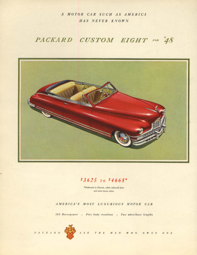 Image for The Packard Custom Eight Convertible $3625-$4668 ad 1948 F