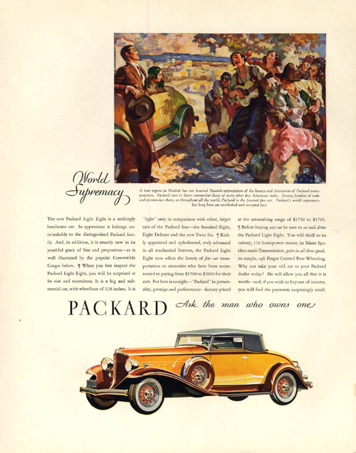 Image for A strkingly handsome car: Packard Light Eight Coupe ad 1932 F