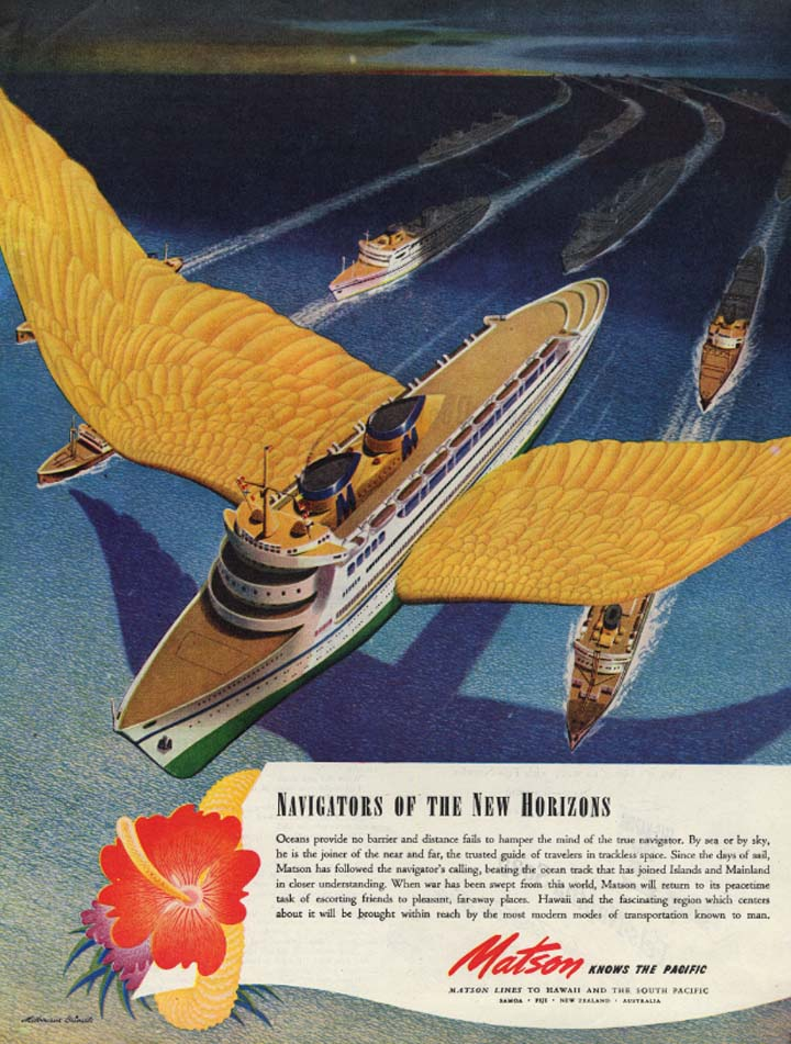 Image for Navigators of the New Horizons Matson Lines ad 1944 Melbourne Brindle SEP