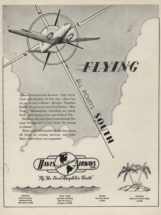Image for Flying to All Points South: Davis International Airways DC-3 ad 1947