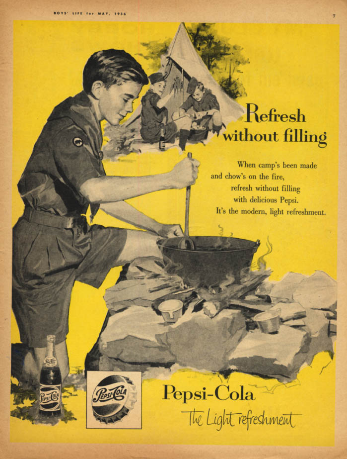Image for Refresh without filling Pepsi-Cola ad 1956 Boy Scout cooks at camp out