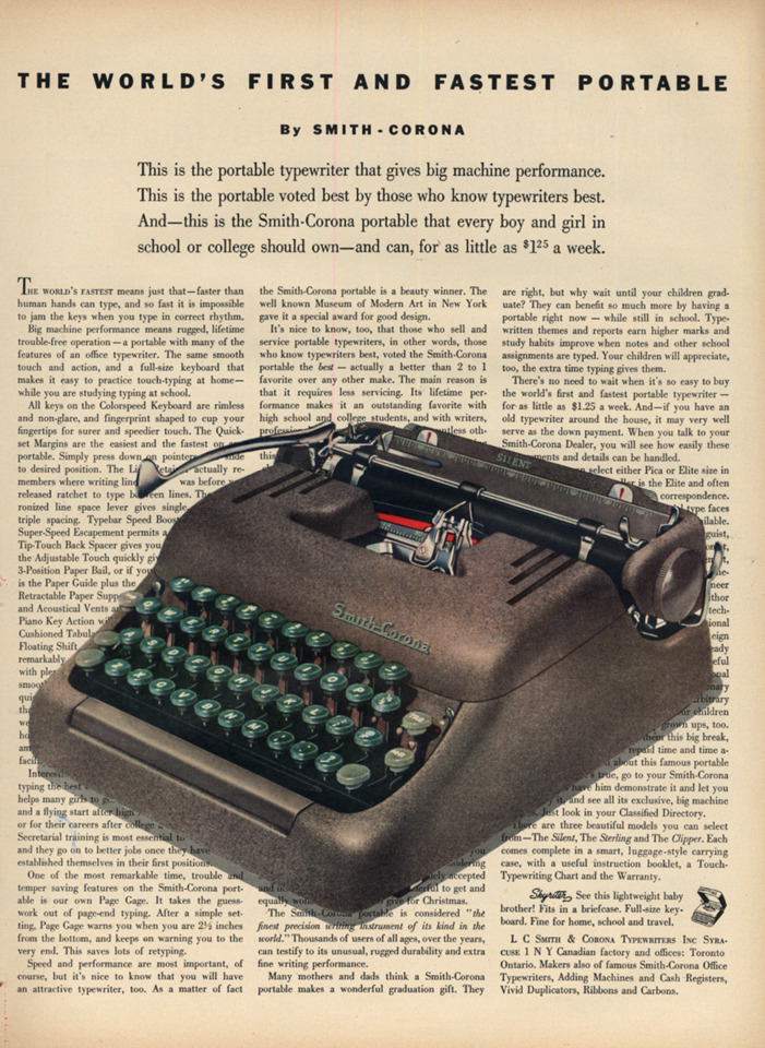 Image for World's First & Fastest Portable Typewriter - Smith Corona Silent ad 1953 L
