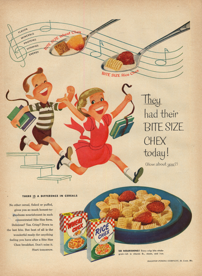Image for They had their Bite Size Wheat & Rice Chex today! Ad 1953 L