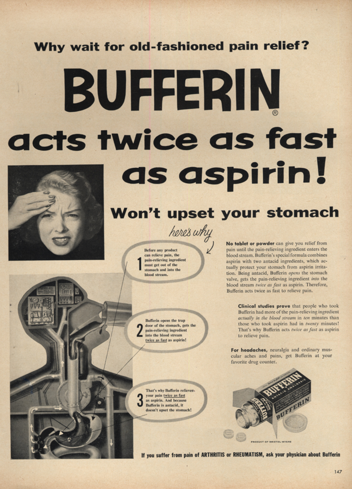 Image for Bufferin works twice as fast as aspirin! Ad 1953 L