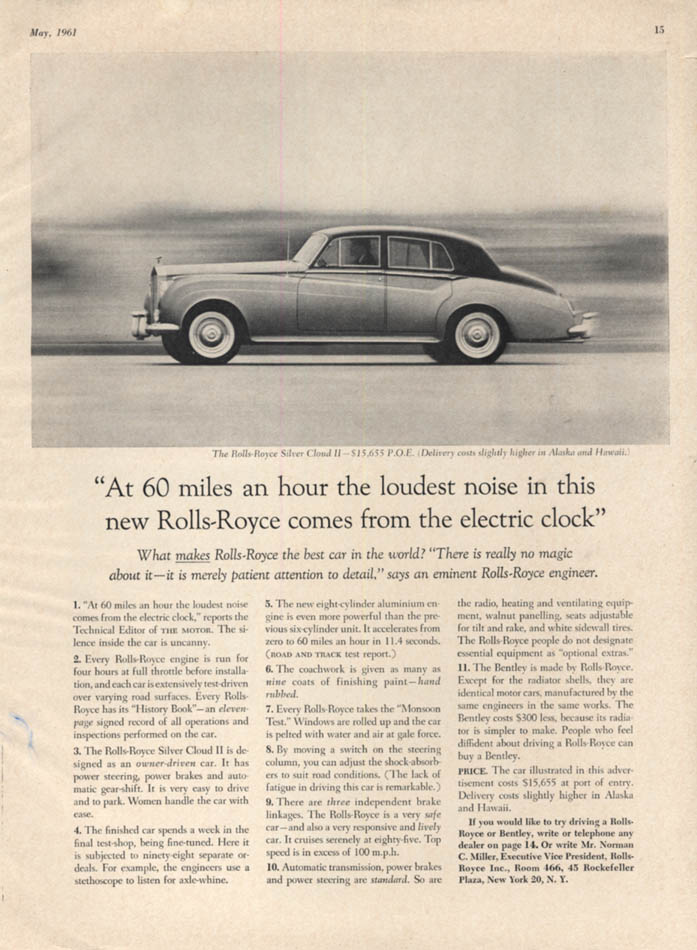Image for At 60 miles an hour the loudest noise comes from the clock Roll-Royce ad 1961 VG
