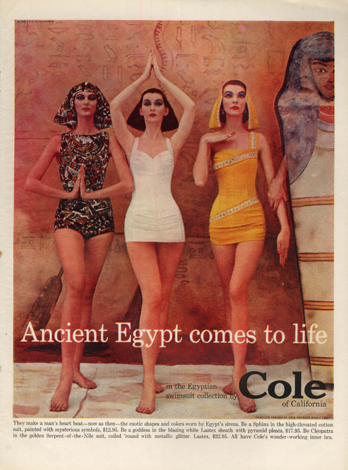 Image for Ancient Egypt comes to life in Cole of California Swimsuits ad 1956 L