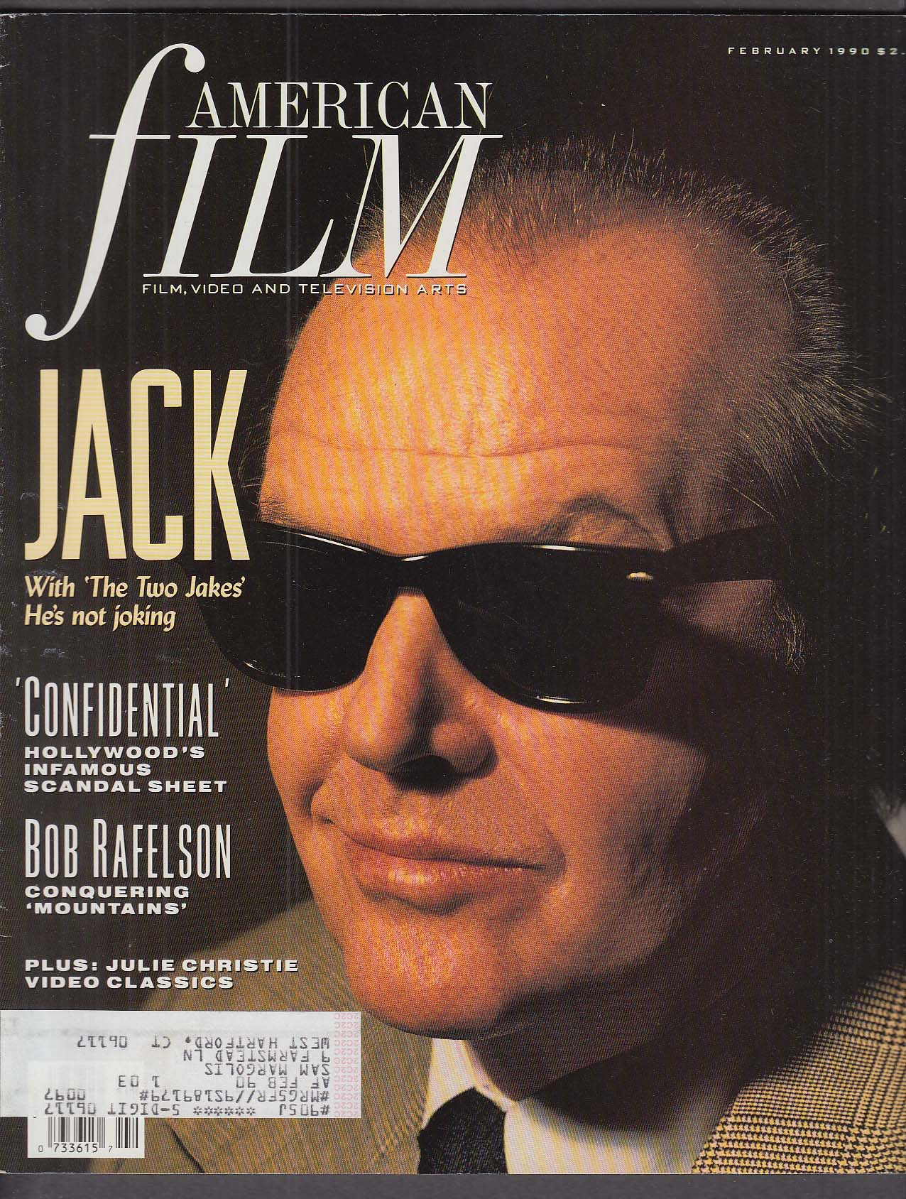 Image for AMERICAN FILM Jack Nicholson Bob Rafelson Julie Christie Confidential mag 2 1990