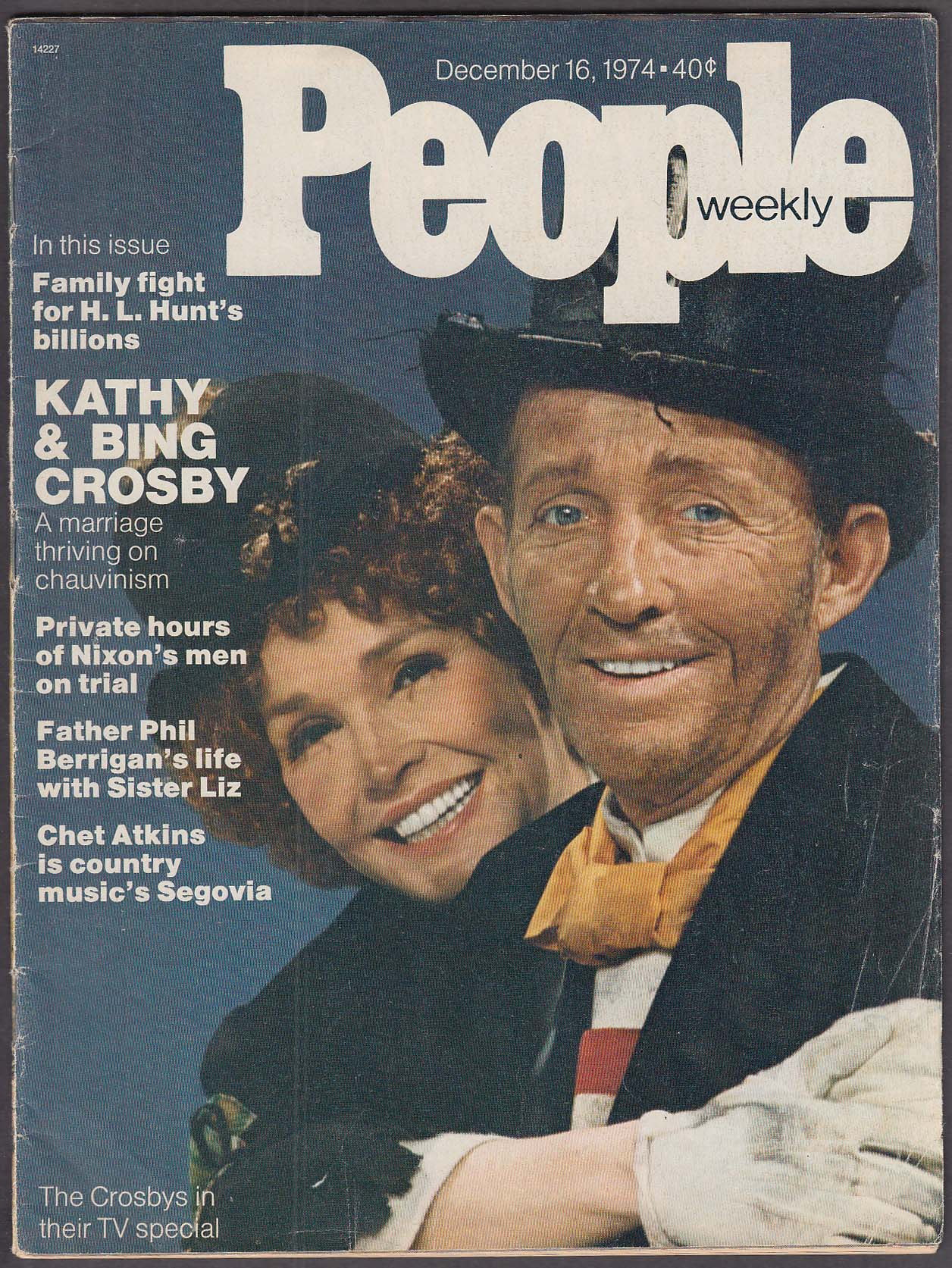 Image for PEOPLE Kathy & Bing Crosby Chet Atkins Philip Berrigan 12/16 1974