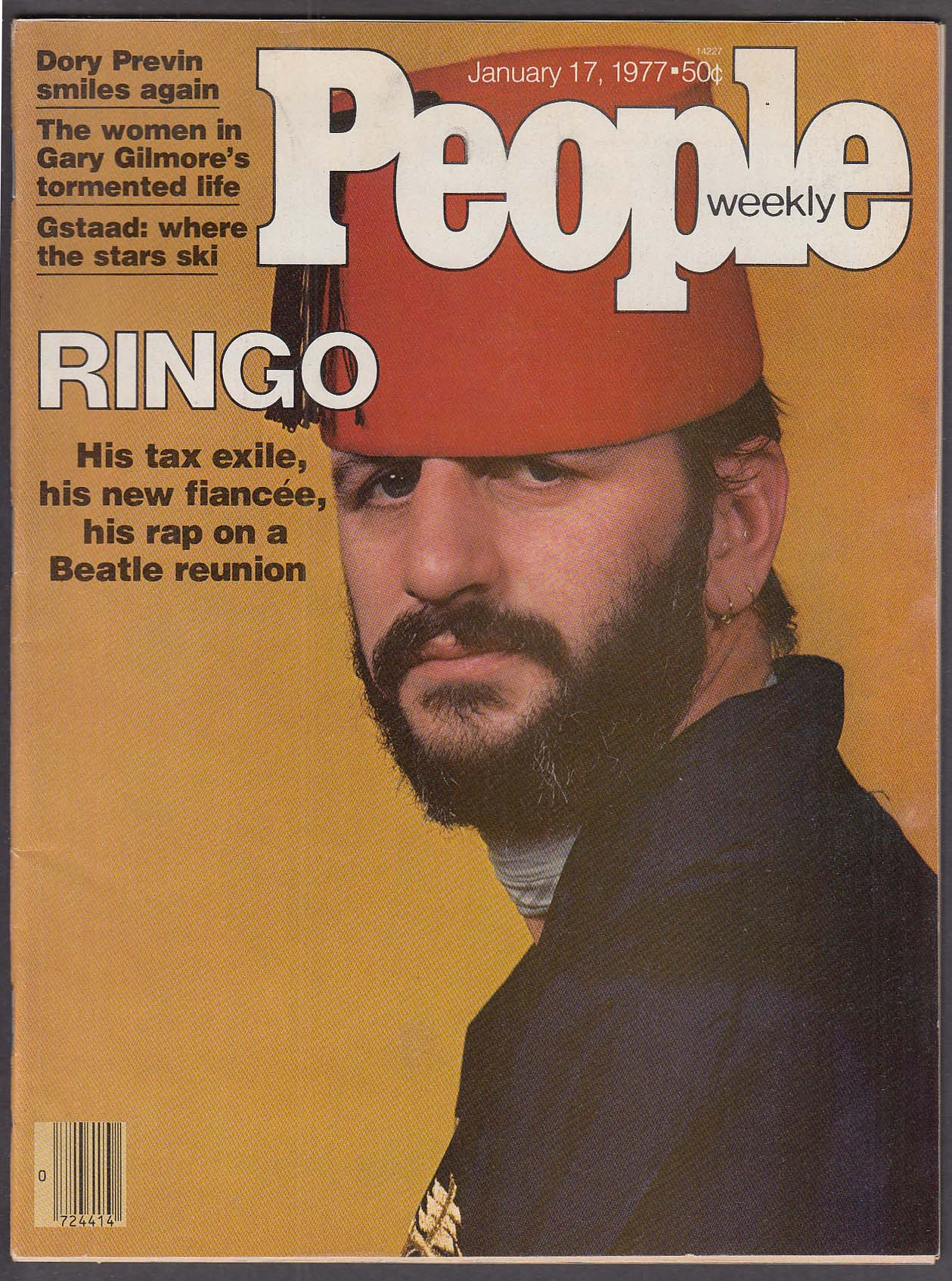 Image for PEOPLE Ringo Starr Gary Gilmore Dory Previn Gstaad ski resorts 1/17 1977