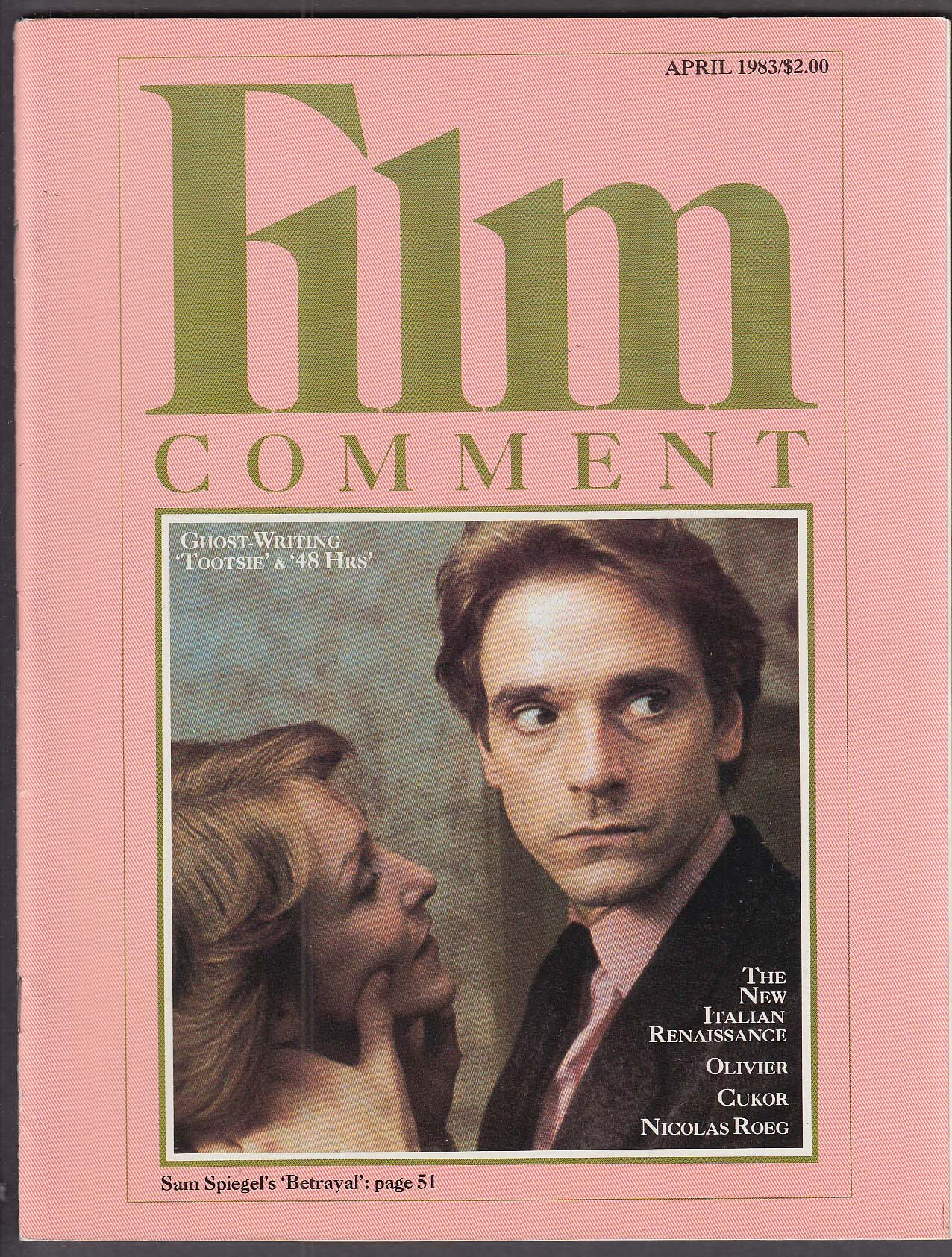Image for FILM COMMENT Jeremy Irons Olivier Vukor Nicolas Roeg Tootsie 48 Hours 4 1983