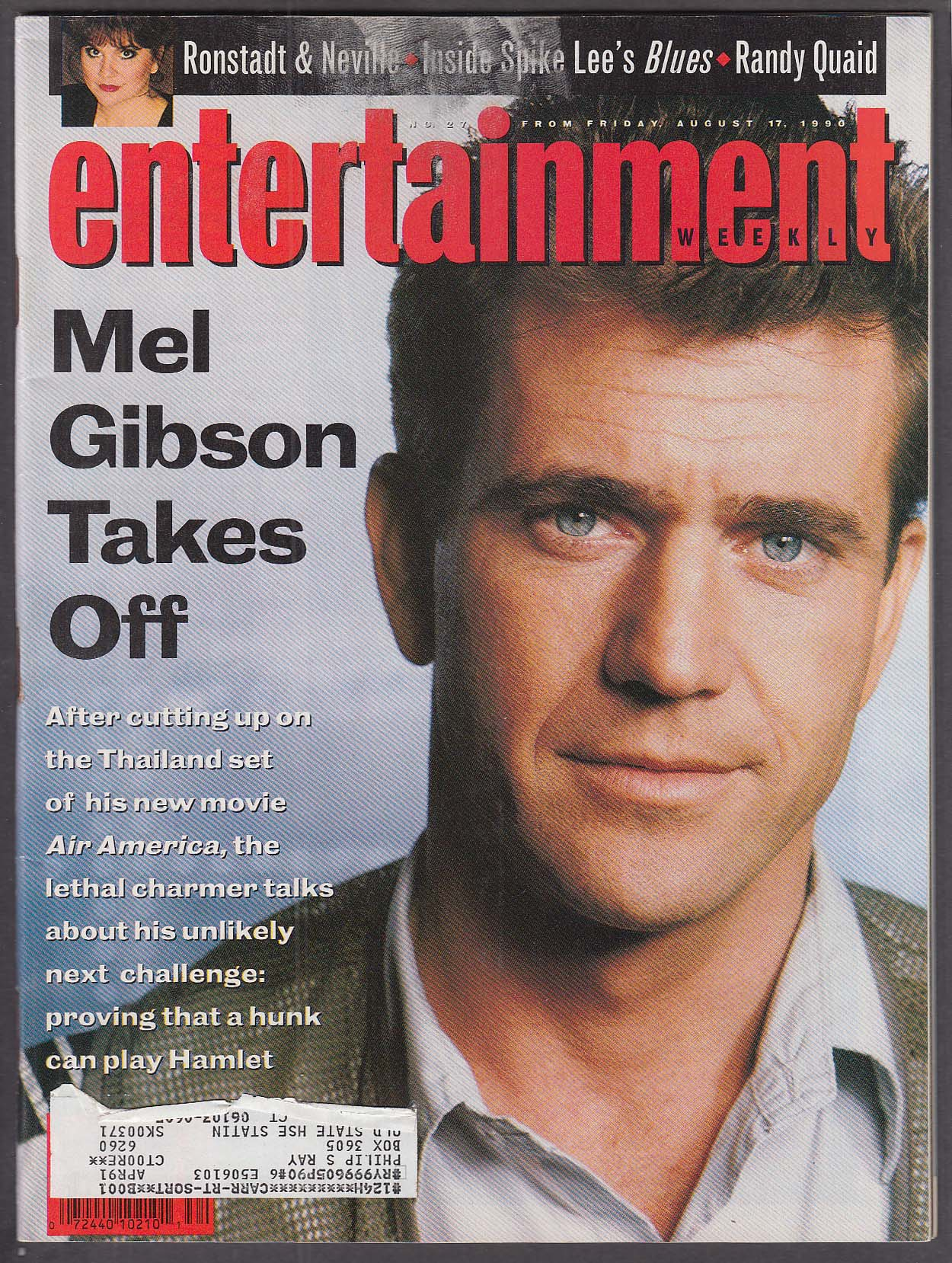 Image for ENTERTAINMENT WEEKLY Mel Gibson Linda Ronstadt Spike Lee Randy Quaid 8/17 1990