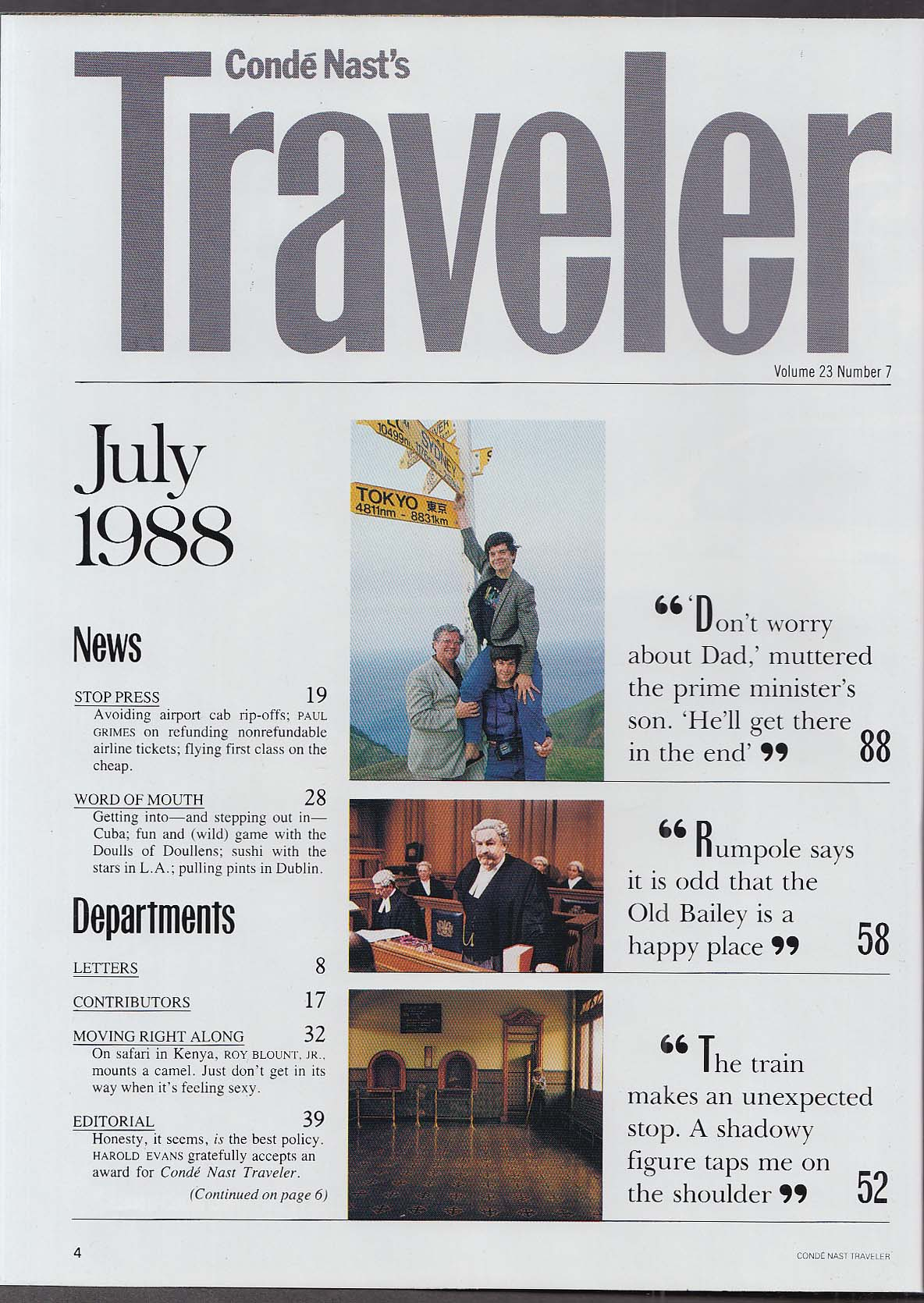 Image for CONDE NAST TRAVELER Emily Lloyd London Israel Mougins Costa Rica Italy ++ 7 1988