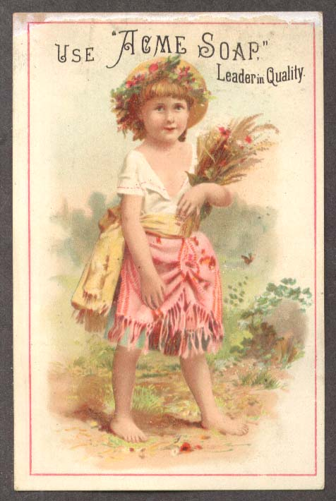 Image for Acme Soap Bartlett Grocer S Hadley MA trade card girl