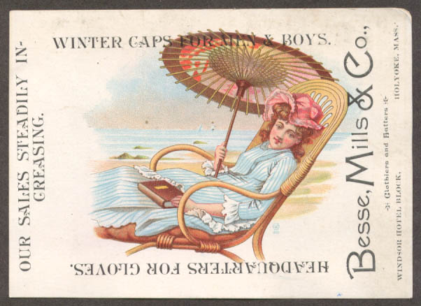 Image for Besse Mills Gloves Caps Holyoke MA trade card parasol
