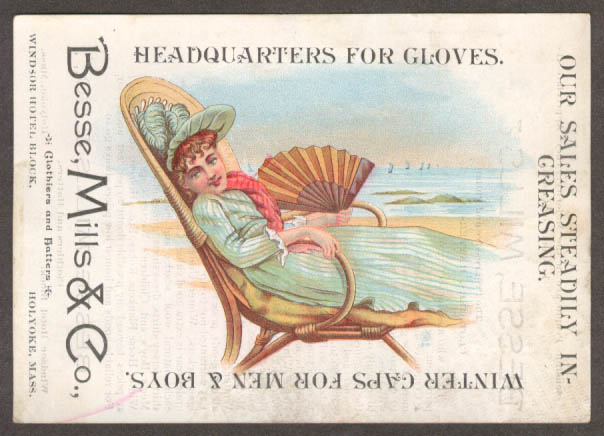 Image for Besse Mills Gloves Caps Holyoke MA trade card girl fan