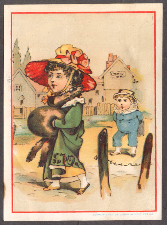 Image for Union Pacific Tea Company boy woman muff trade card