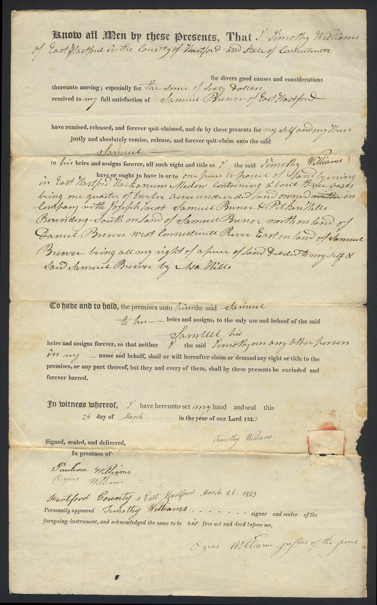Image for Timothy Williams Samuel Brewer E Hartford CT deed 1823