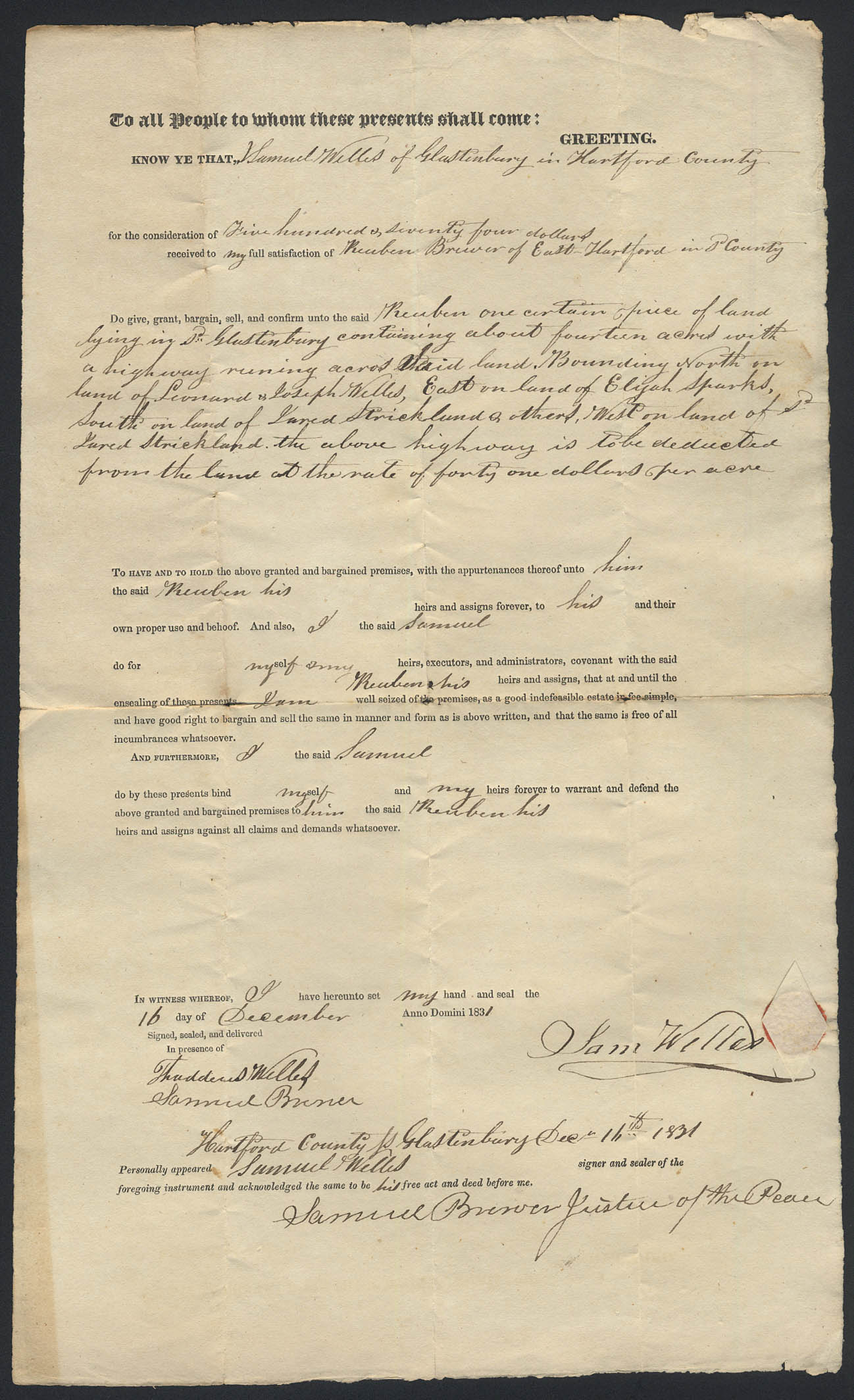 Image for Samuel Welles to Samuel Brewer E Hartford CT deed 1831