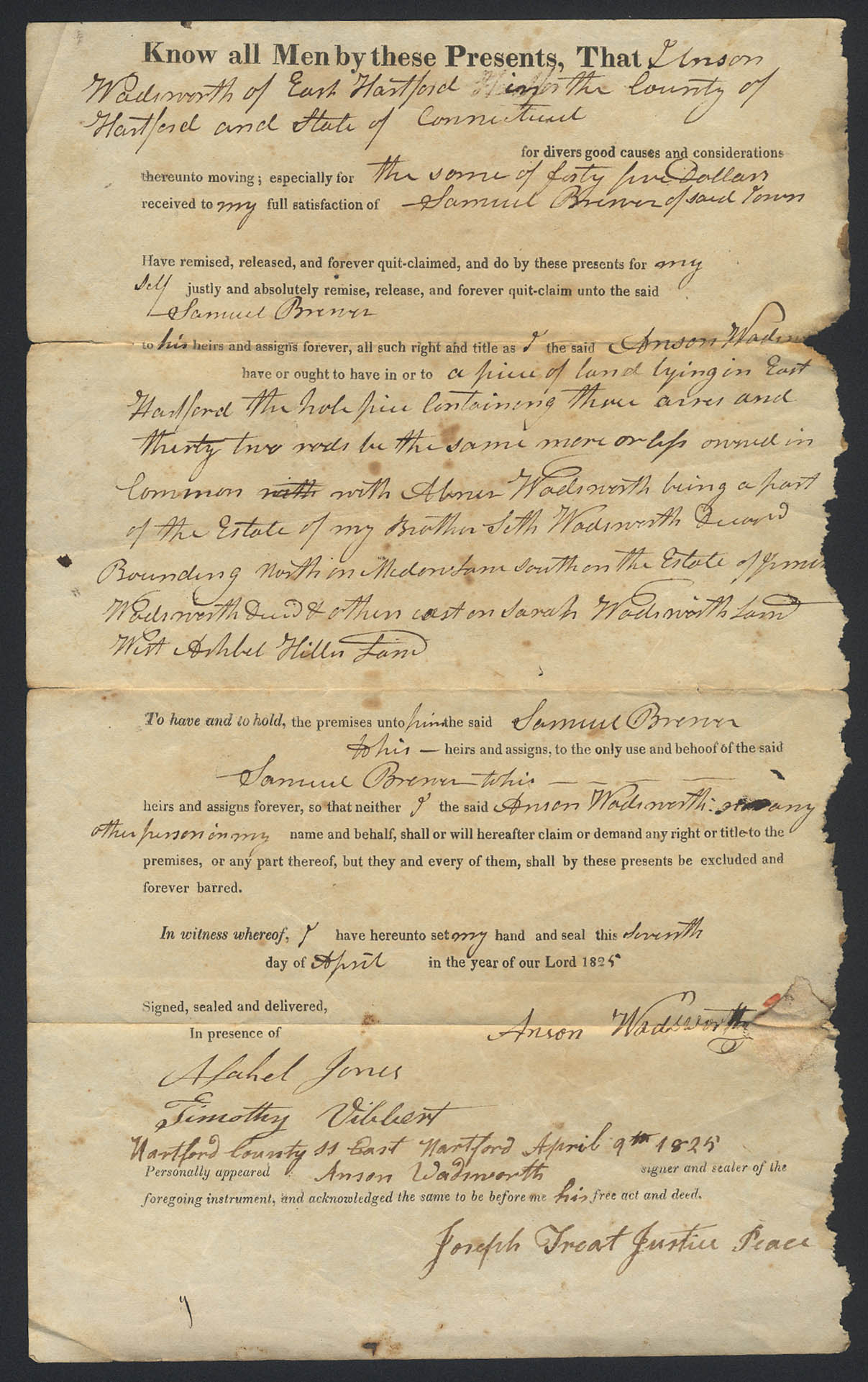 Image for Anson Wadsworth Samuel Brewer E Hartford CT deed 1825