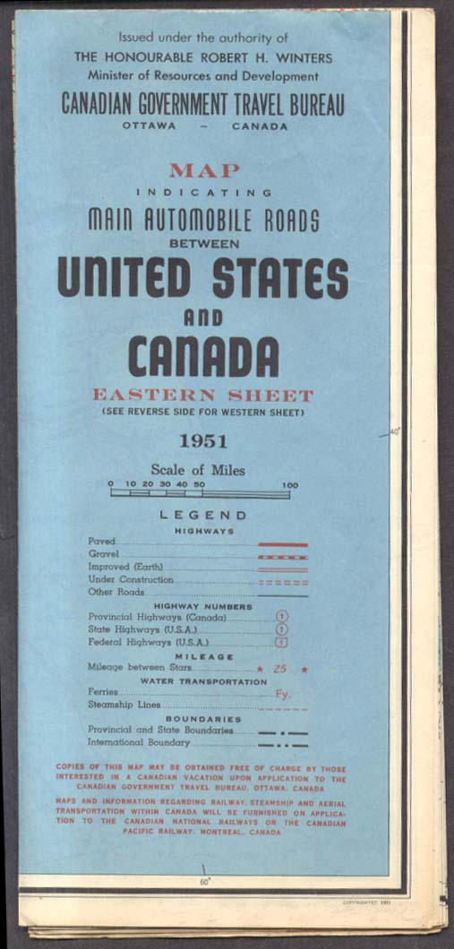 Image for Canadian Government Main Roads between US & Canada Eastern Sheet 1951