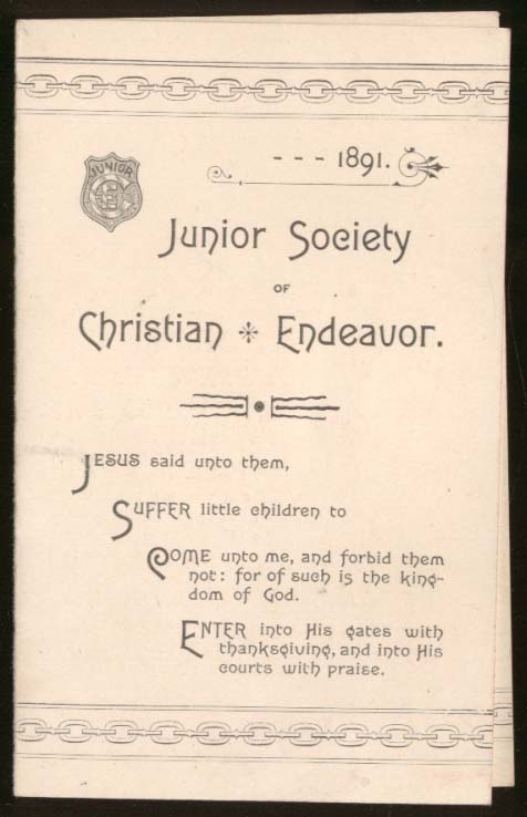 Image for Junior Society of Christian Endeavor Prayer Meeting Topics folder 1891 Boston MA