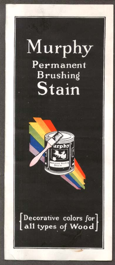 Image for Murphy Permanent Brushing Stain Chip Chart 1930s Newark NJ