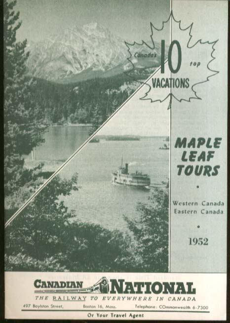 Image for Canadian National Railway Maple Leaf Tours brochure 1952