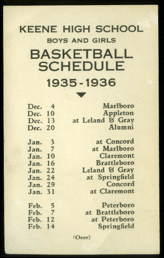 Image for Keene High School Boys & Girls Basketball Schedule card 1935-1936 NH